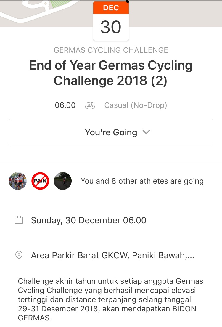Germas Bersepeda Melaksanakan End of Year Germas Cycling Challenge 2018